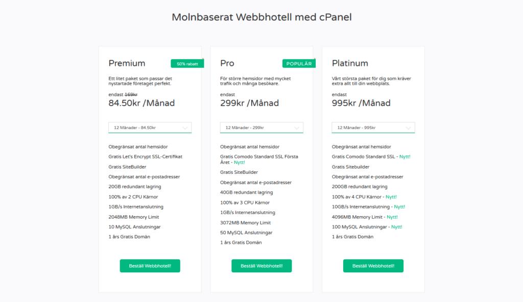 FS Data erbjuder dessa tre tjänster för Webbhotell.