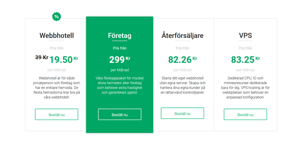 Bild på StableHost's olika tjänster för webbhotell.